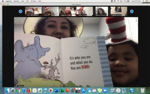 Valentina's mom reading on zoom