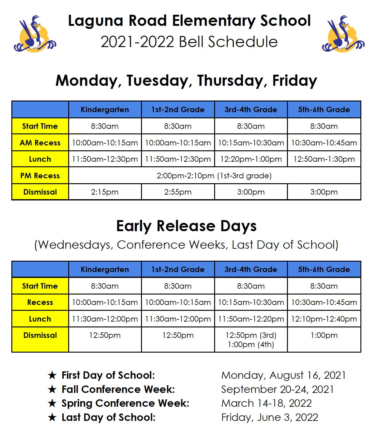 LR Bell Schedule 2021-2022