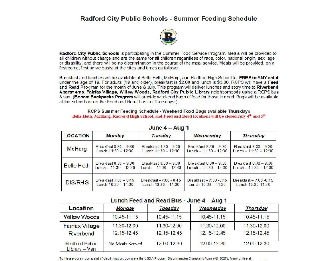 Summer Meals for Kids 2018 - Operation Schedule