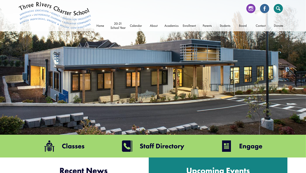 Three Rivers Charter School website design