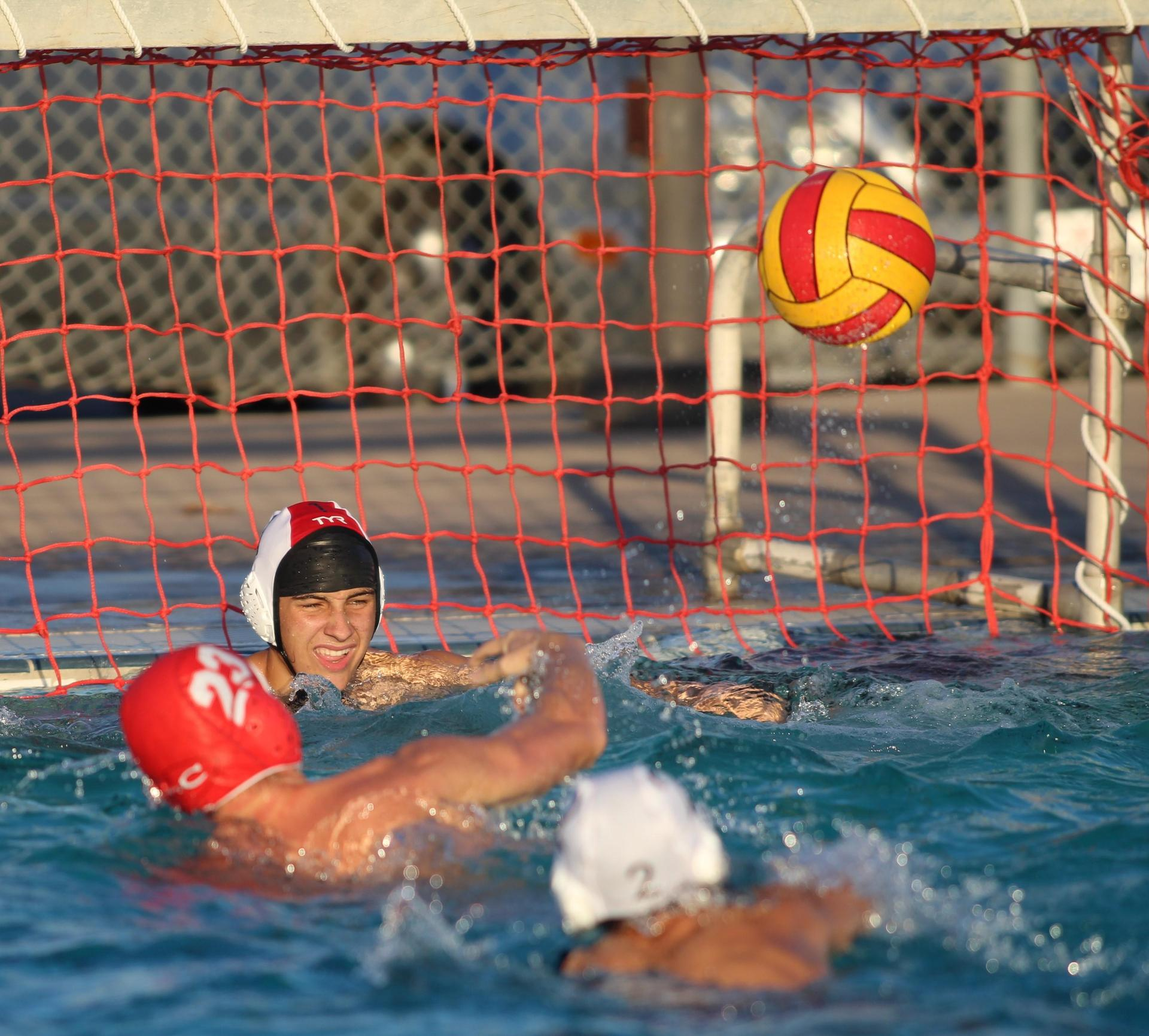 Boys playing water polo against Kerman.