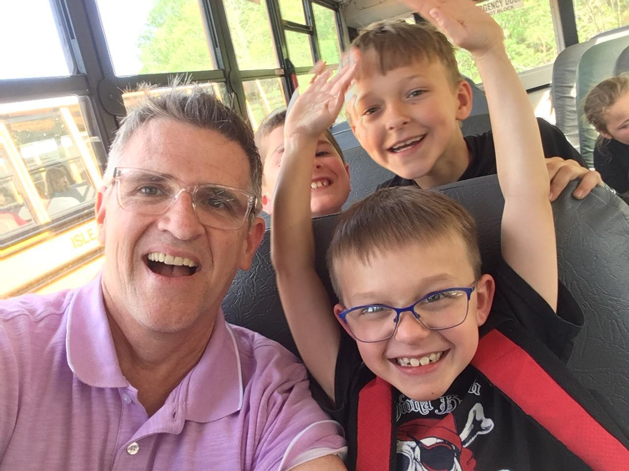 On the bus with Cole and Hank