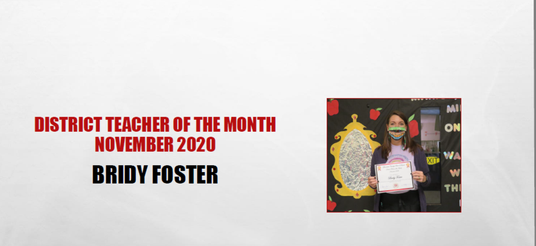 November 2020 Teacher of the Month Bridy Foster