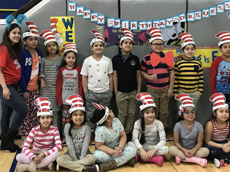 Washington students wishing dr. seuss a happy birthday