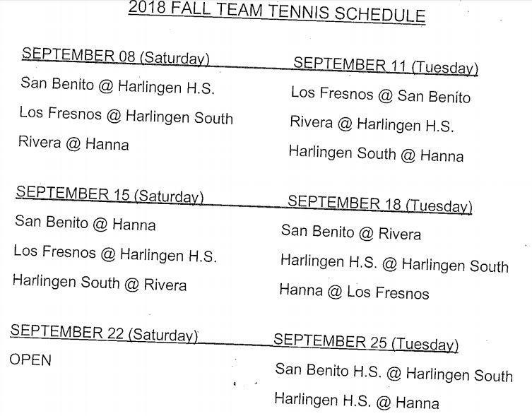 tennis schedule 2018