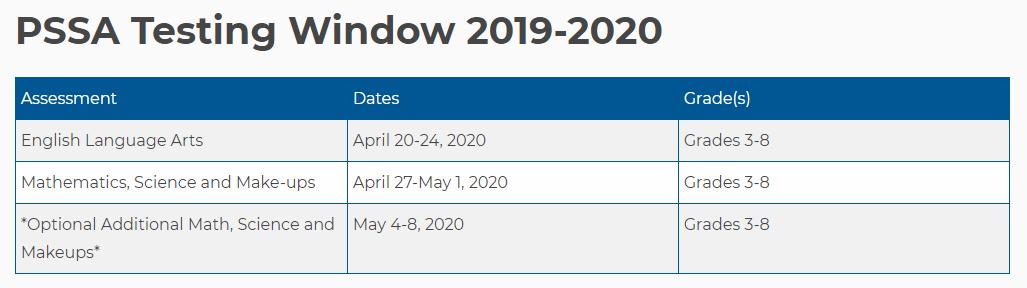PSSA Testing Window 2019-2020