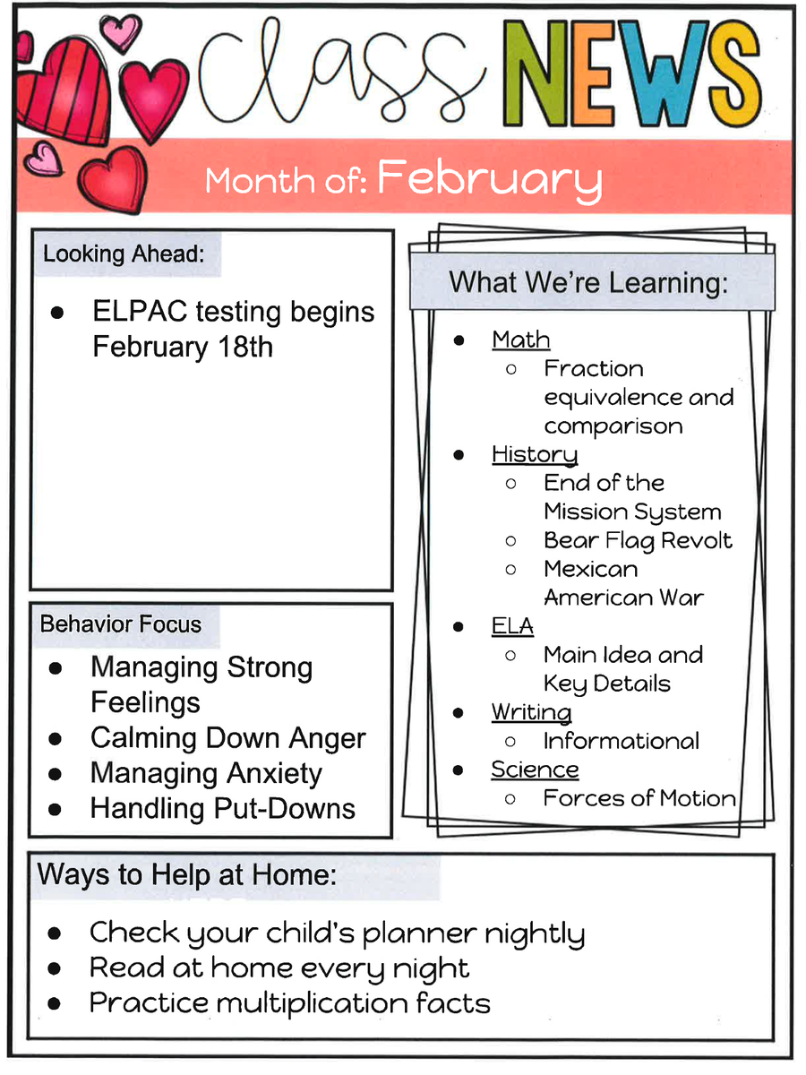 4th grade February Newsletter