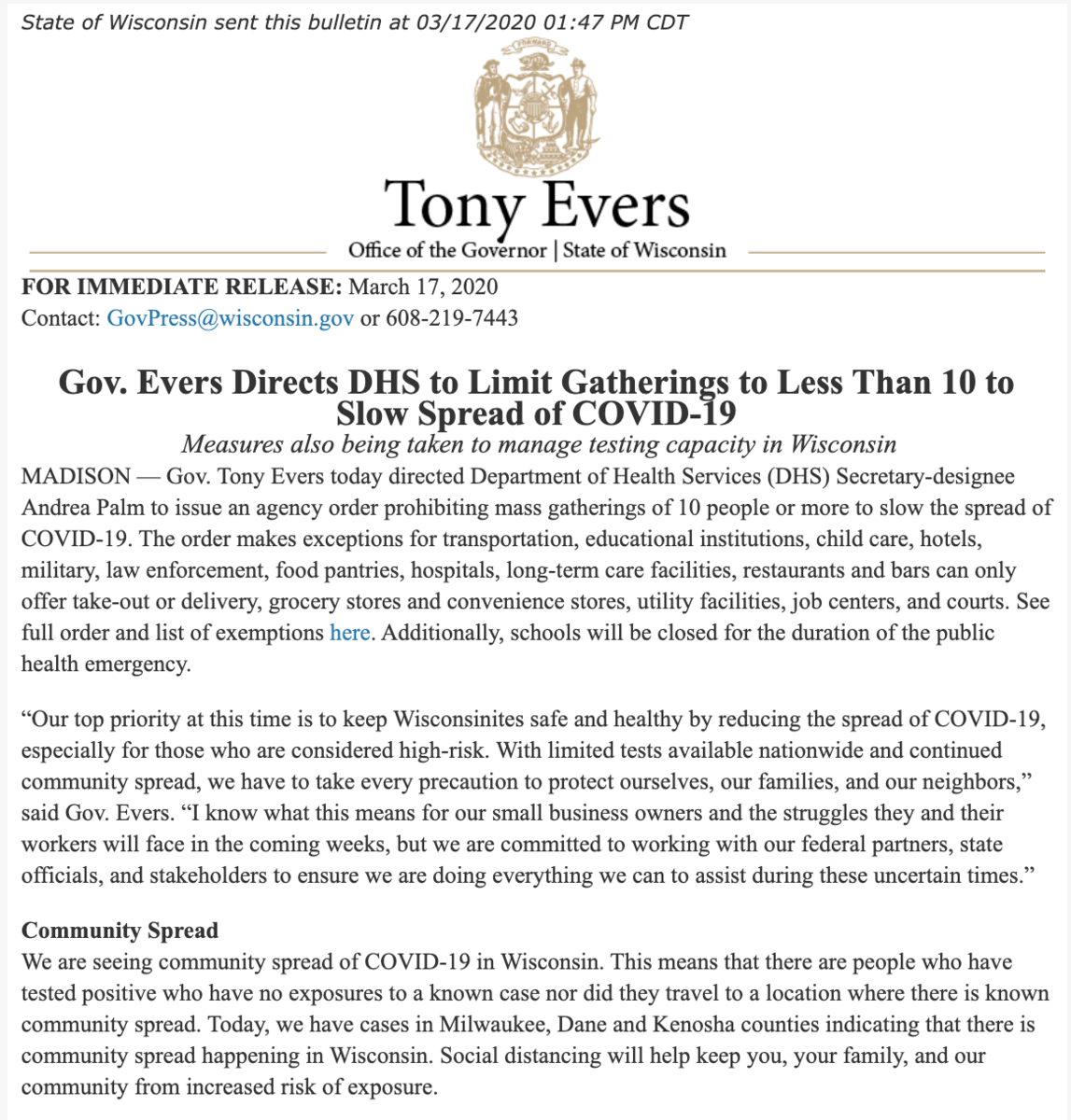 Evers ban 1 of 2