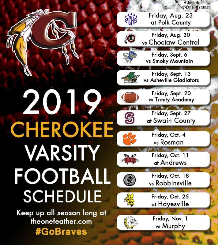 2019 Cherokee Varsity Football Schedule