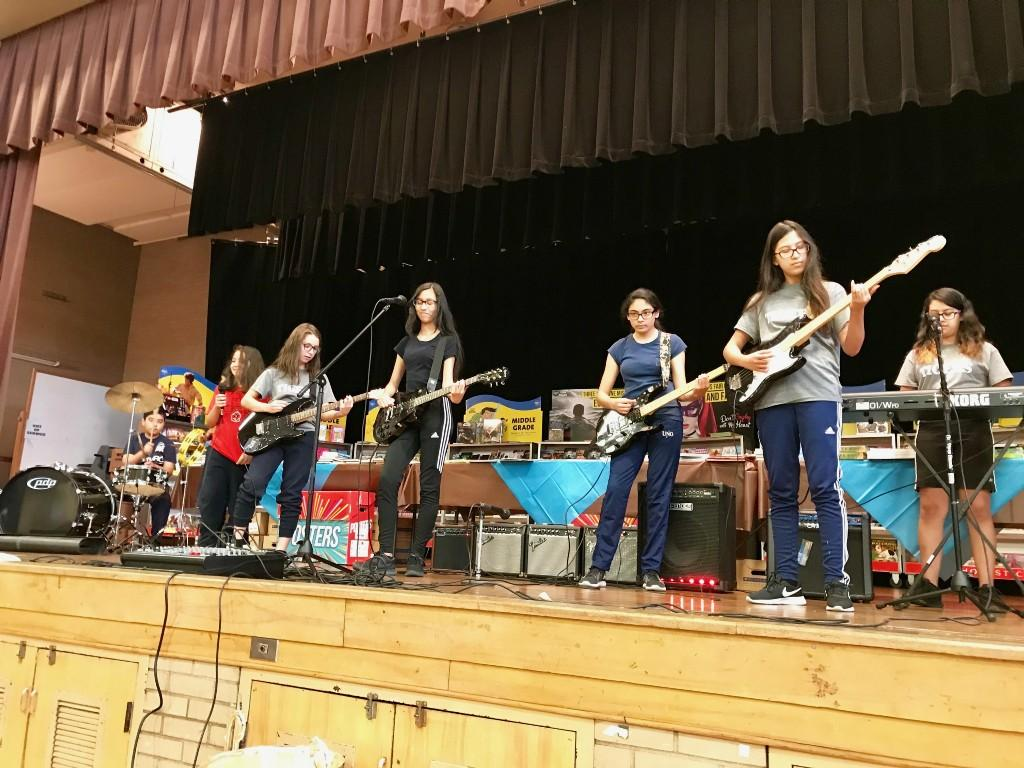 Rock band performs