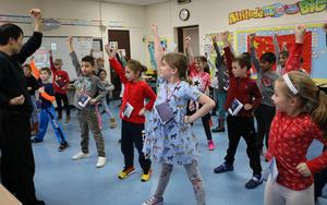 """Basic lessons in the ancient art of Kung Fu was one of many opportunities for Franklin 2nd graders to learn about Chinese language, history and culture during """"China Day"""" on Feb. 21."""