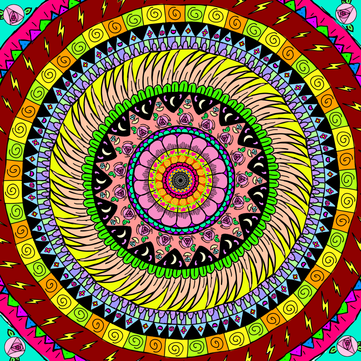 An elementary school student's intricate mandala drawing, a symmetrical and highly detailed circular design