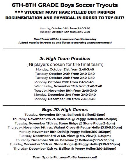 Jr. High Boys Soccer Schedule