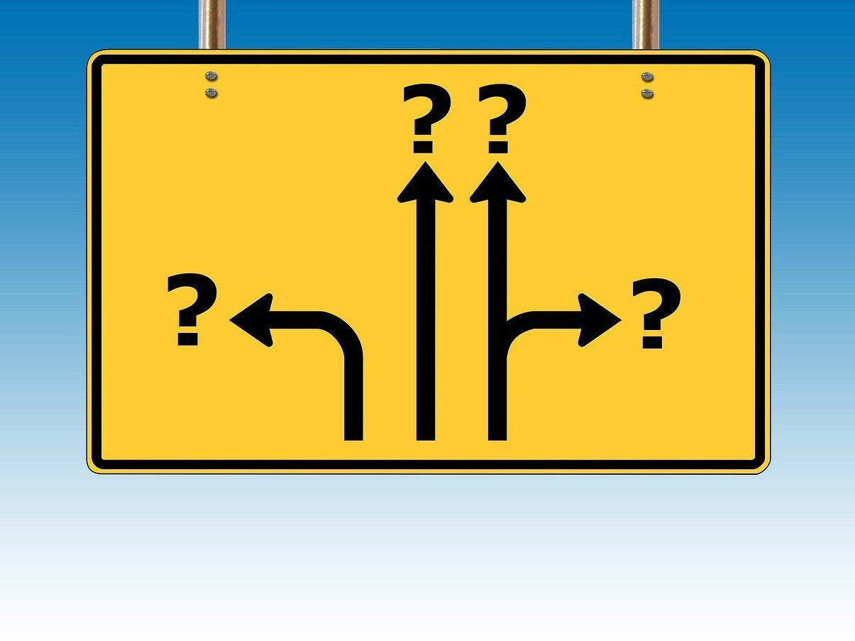 Direction arrows with question marks