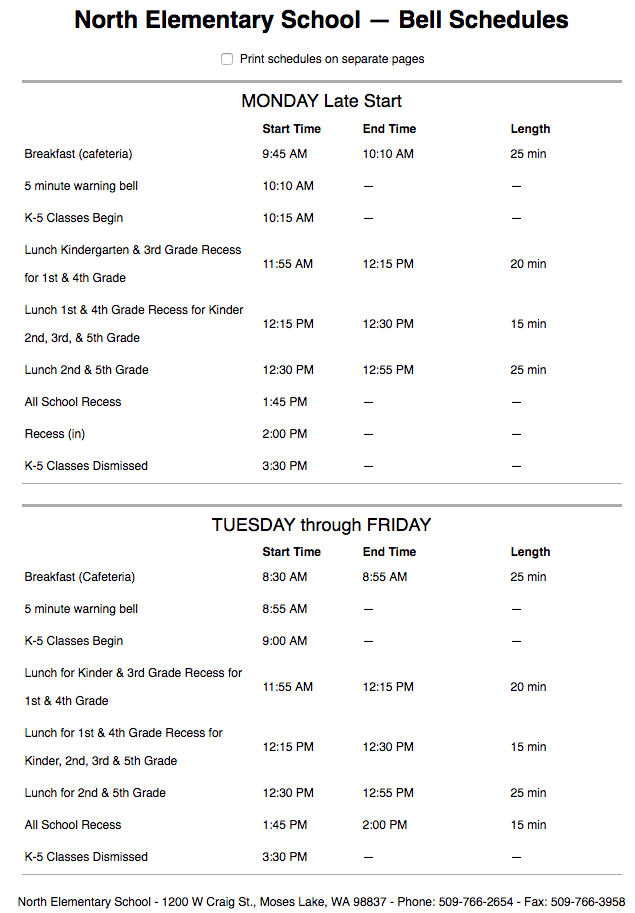 North Bell Schedule (Text version available on North website)