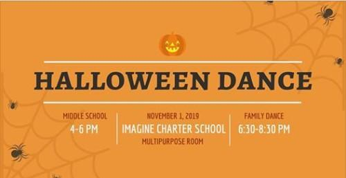 Halloween Dance 4-6pm (grades 6-8 only), 6:30-8:30pm (family dance) Featured Photo