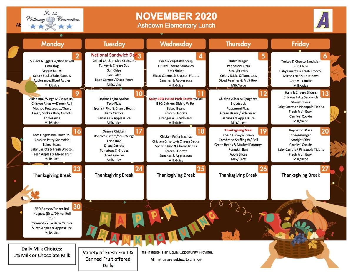 November Elementary Lunch Menu