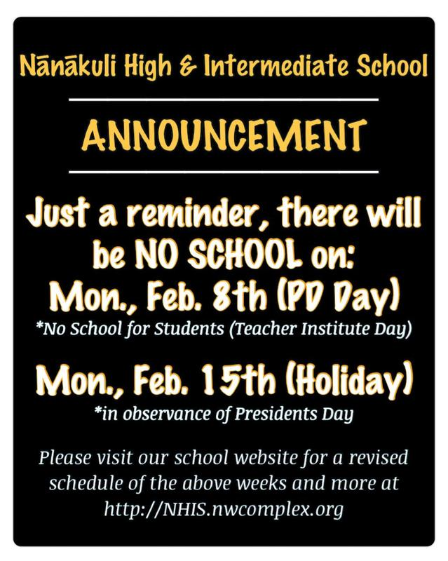 NO SCHOOL ON MONDAY, FEBRUARY 8 and MONDAY, FEBRUARY 15 Featured Photo