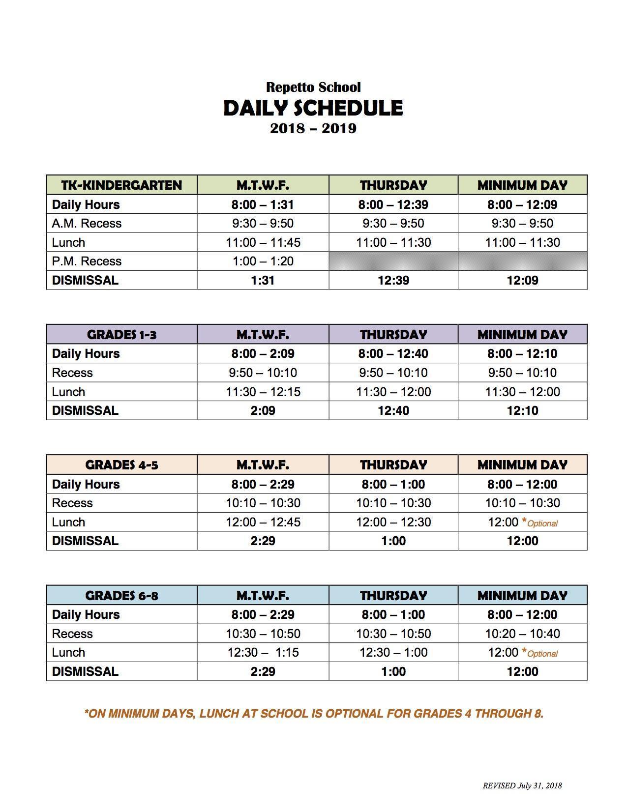 repetto schedule – students – repetto elementary school