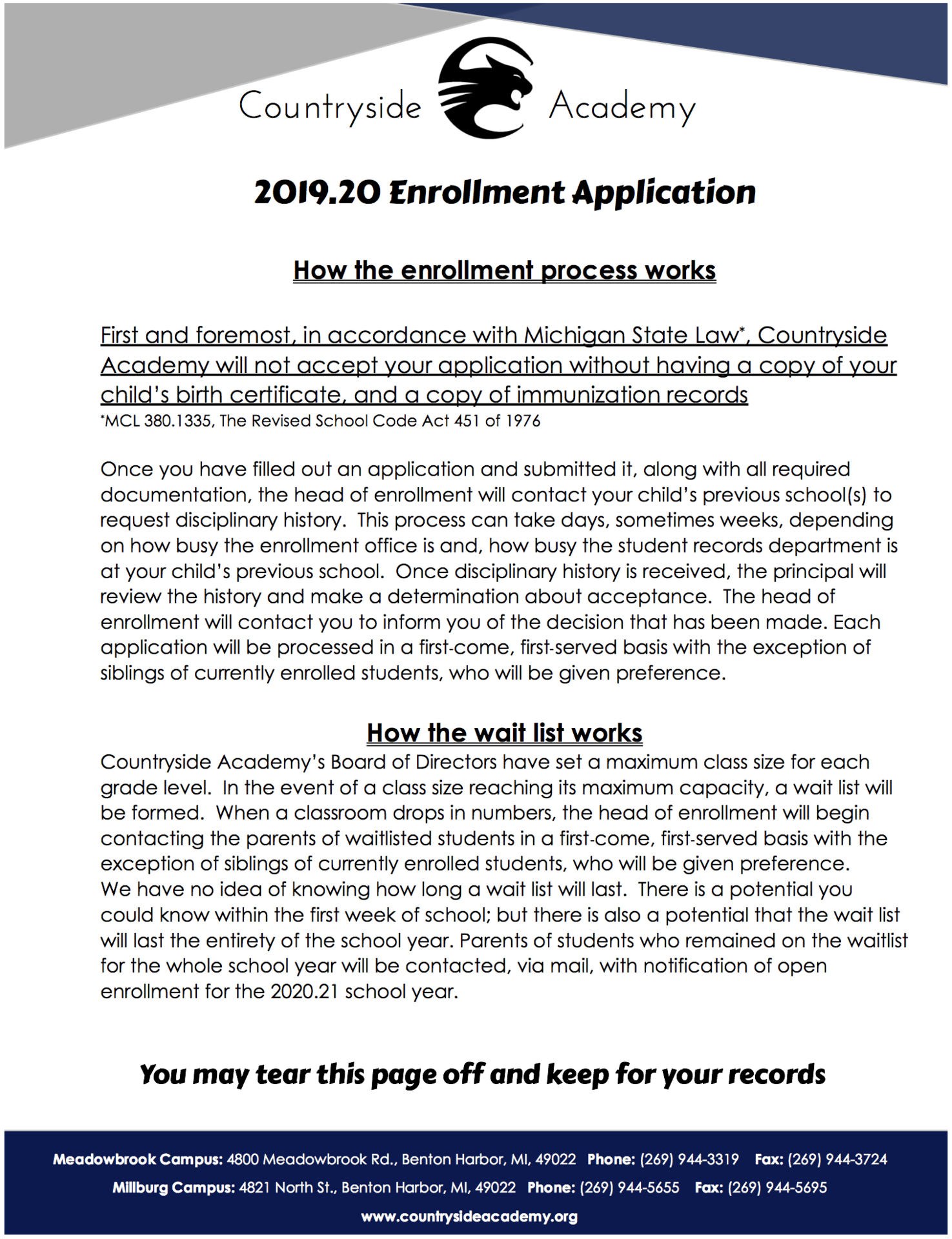 2019-20 Enrollment Application