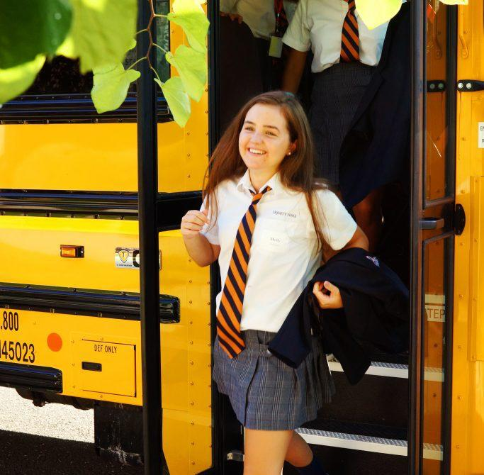 student off bus