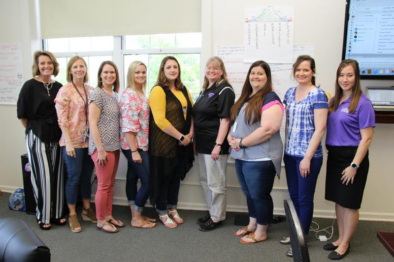 "Pictured from left to right are the individuals who participated in Lexington Three's first-ever ""Teacher Book Talk"" book study:  Angie Rye, Andrea Derrick, Ashley Fort, Veronica Brandau, Megan Schulte, Kathy Taylor, Gracyn Livingston, Jill Slapnik and Kimberly Lawson.  Not pictured is Courtney Richardson."