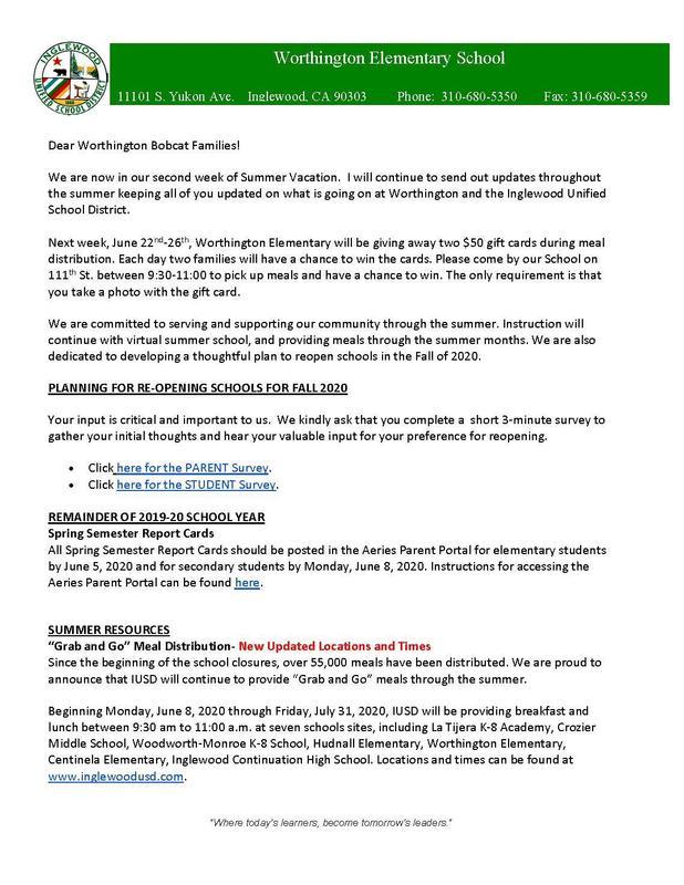 Worthington Weekly Update June 15th-21st
