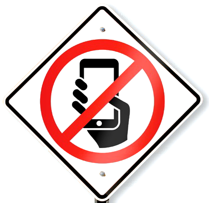 Clip art, hand holding a cell phone and a line indicating not to use electronic devices while driving