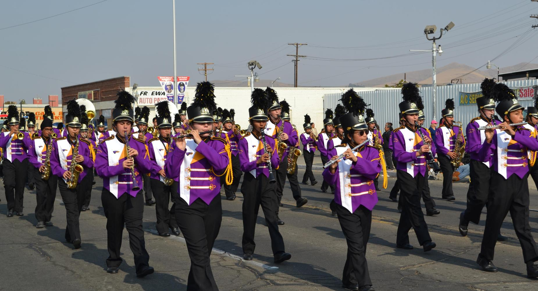 Alpine Vista band marching in city parade