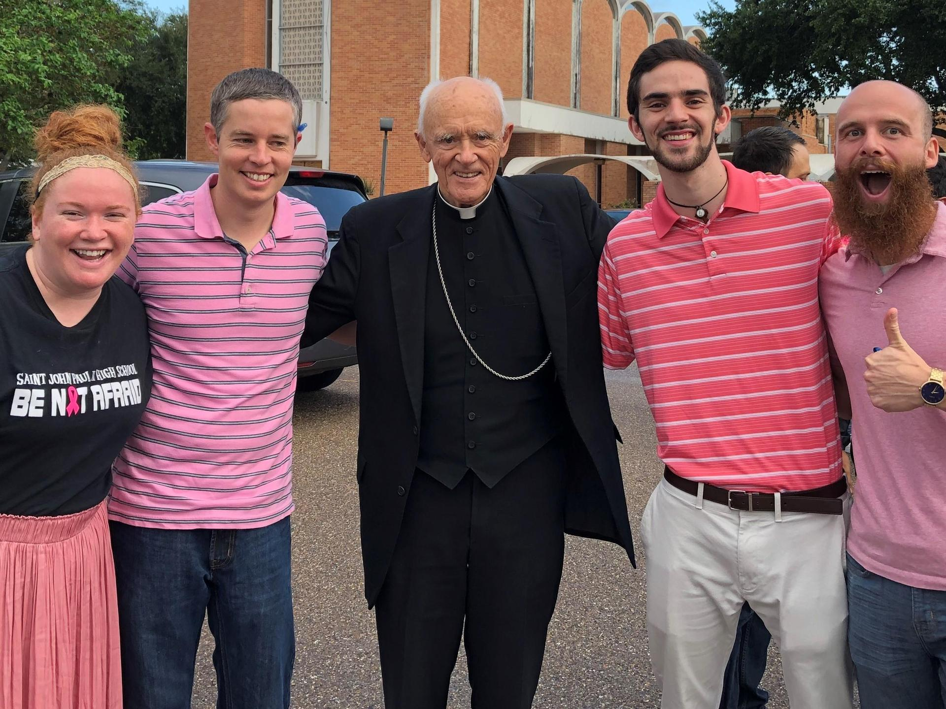 Teachers with Bishop Carmody