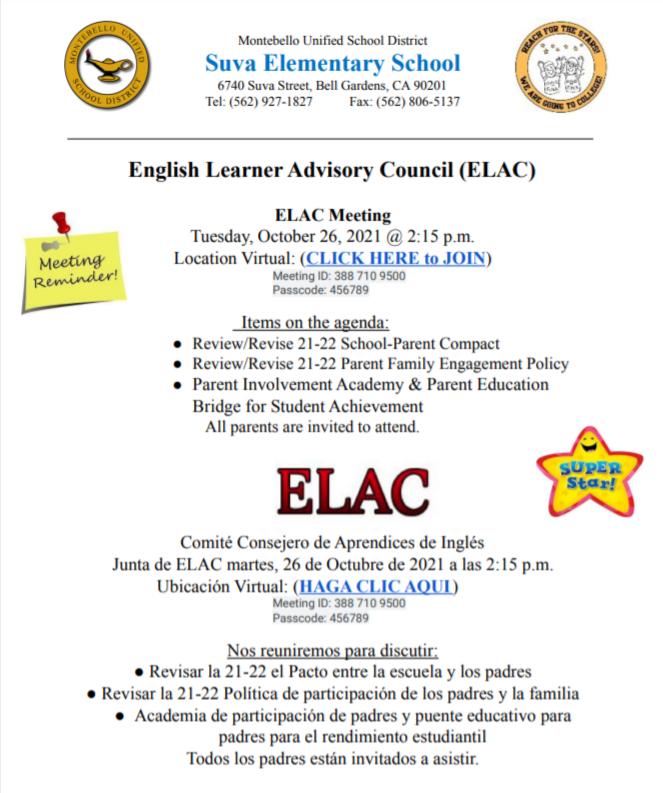ELAC October Flyer