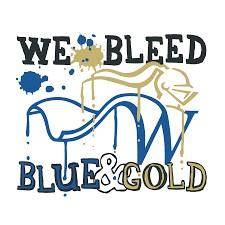 flyer saying we bleed blue and gold