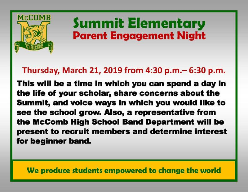 Summit Elementary Parent Engagement Night 2019