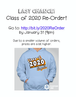 Last Chance to Order Class of 2020 T-Shirts and Sweatshirts Featured Photo