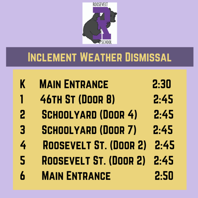 Dismissal times for inclement weather in English