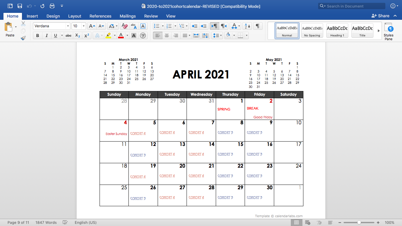 April cohort schedule