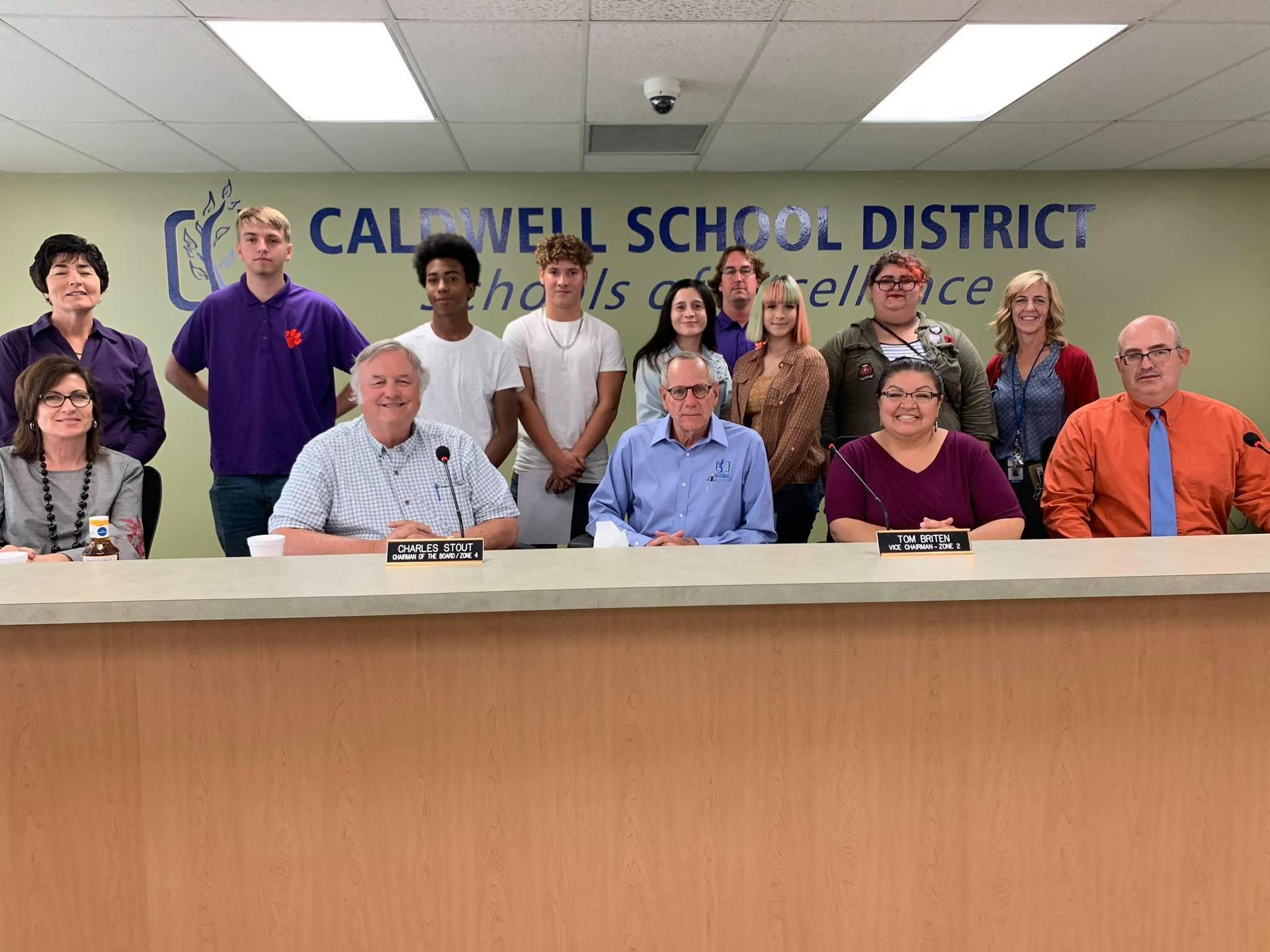Canyon Springs Student Council with School Board