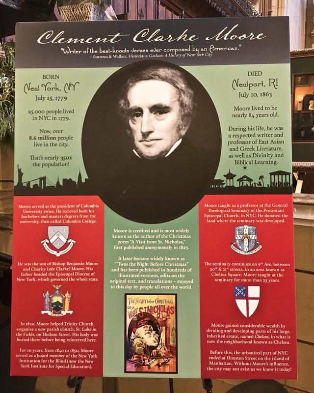 Detailed poster exhibited at the event on the history of CC Moore
