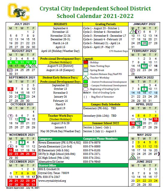 School Calendar 2021-22 Featured Photo