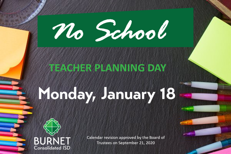 No School for Students on January 18- Teacher Planning Day Thumbnail Image