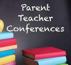 stack of books with the words Parent Teacher Conferences.