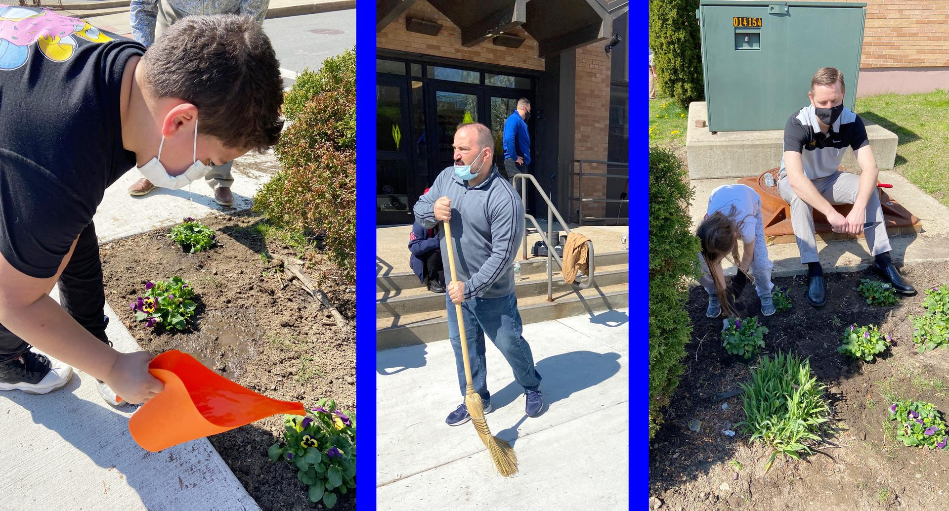 Three-tile photo, students and staff working on light landscaping projects outside the Devens School