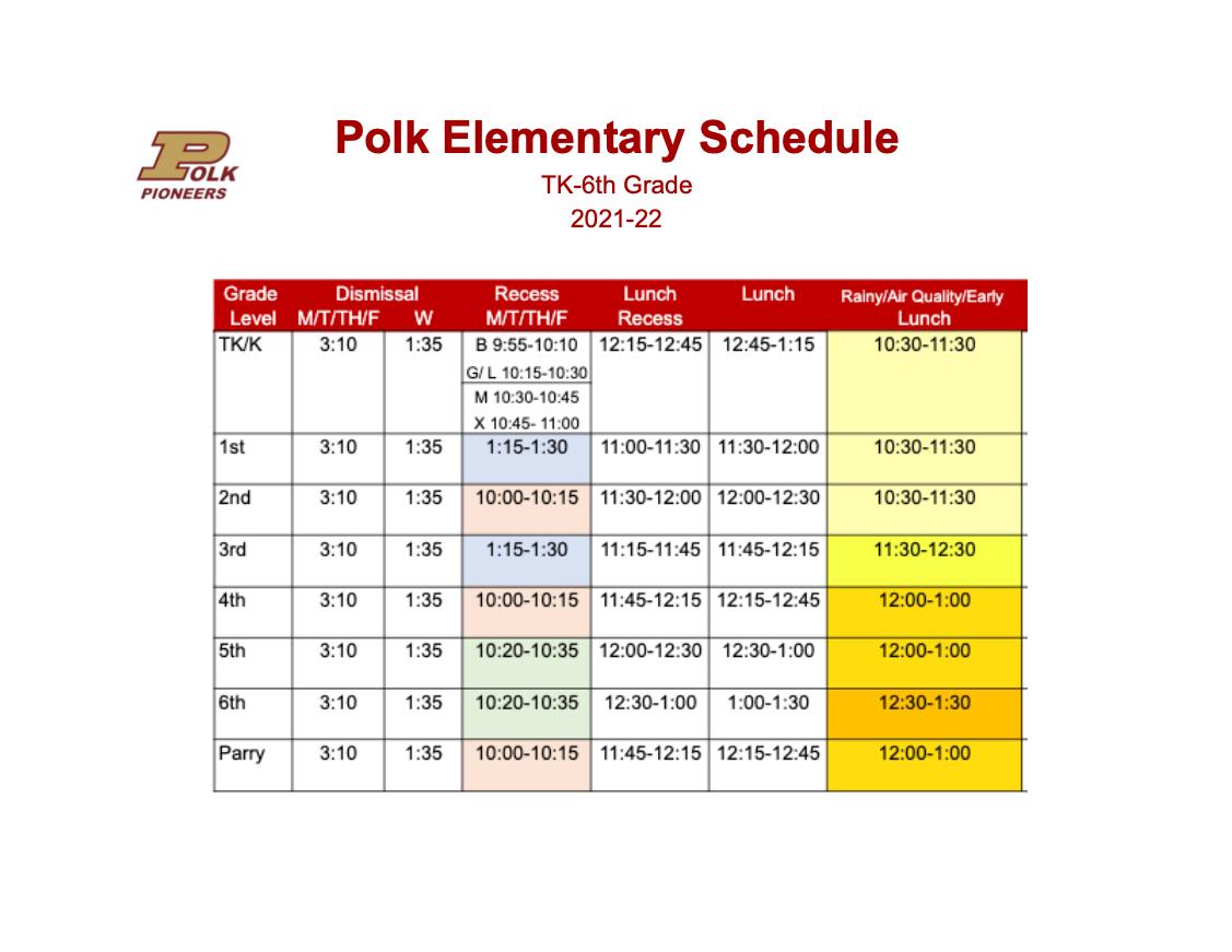 Polk 2021 to 2022 Schedule