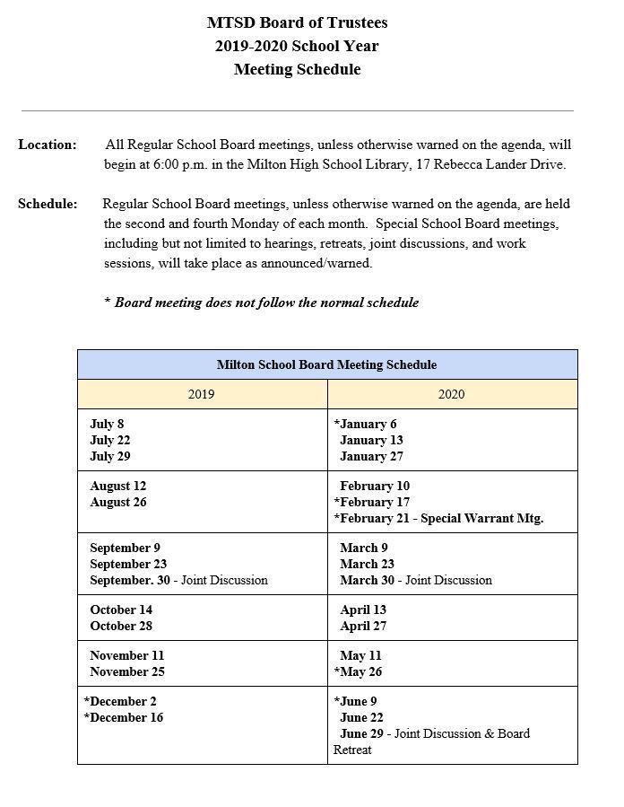 MTSD Board of Trustees 2019-2020 Meeting Schedule