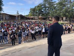 Mr. Miller speaking at Freshman Orientation