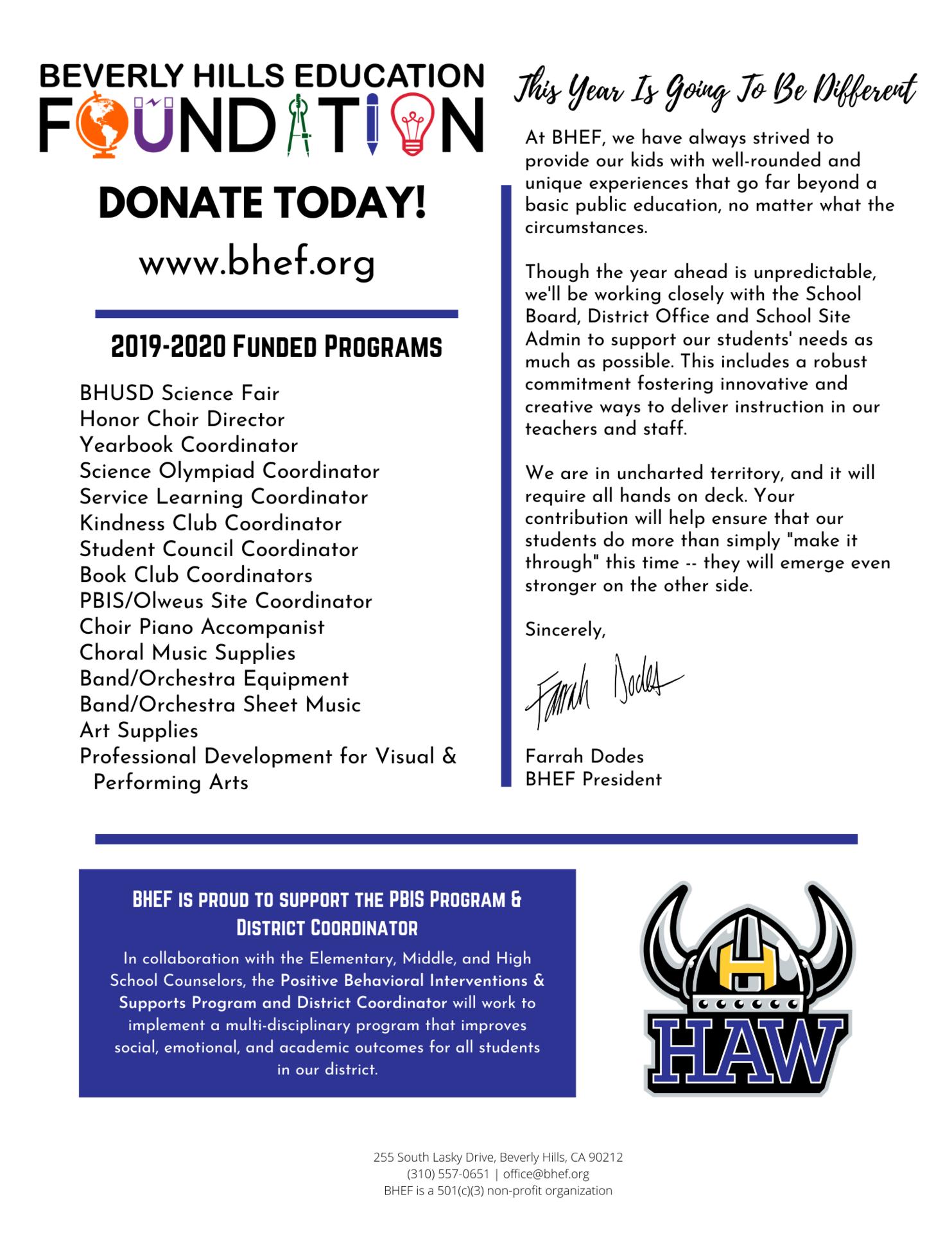 Hawthorne Funded Programs Flyer