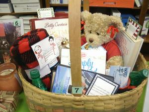Basket of items donated for United Way drawing.