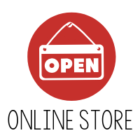 red circle with open written and Online Store