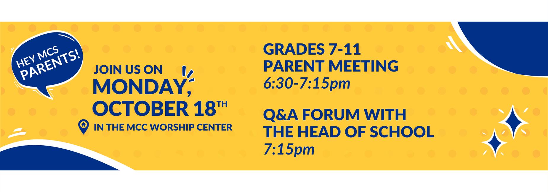 Oct. 18 Parent Meetings