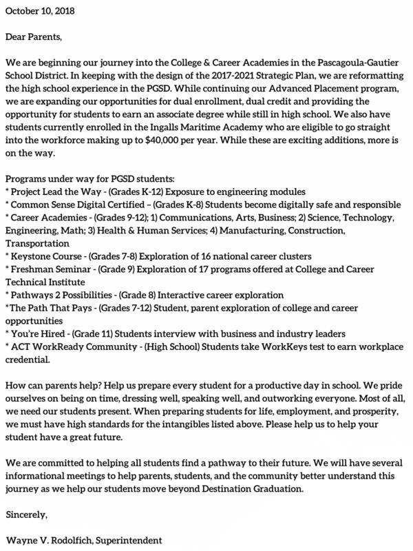 career academies letter